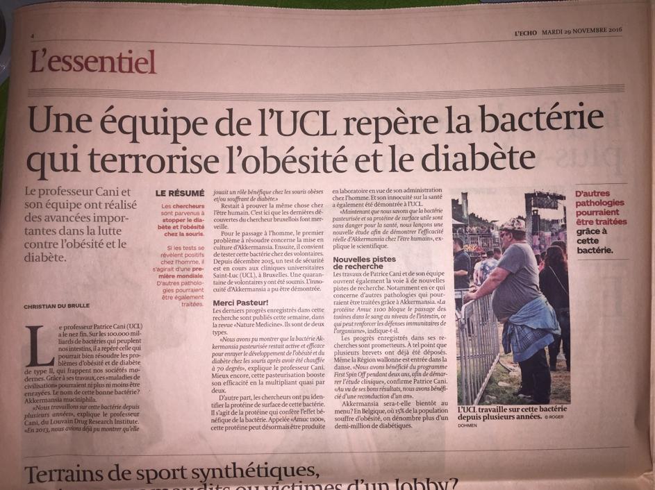 équipe UCL repère bactérie terrorise obésité diabète